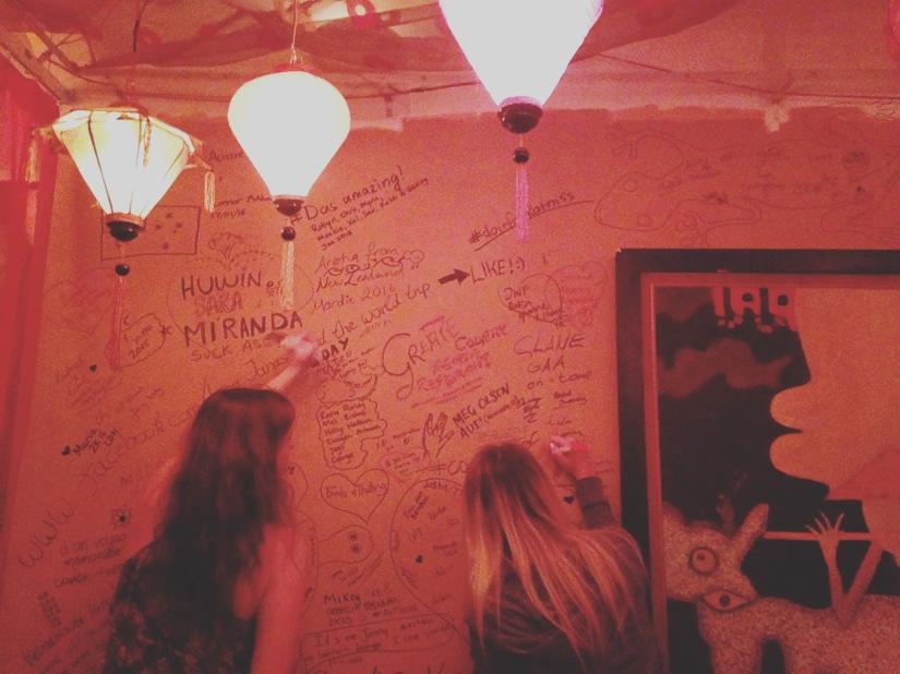 Scrawl wall, Lantern Lounge
