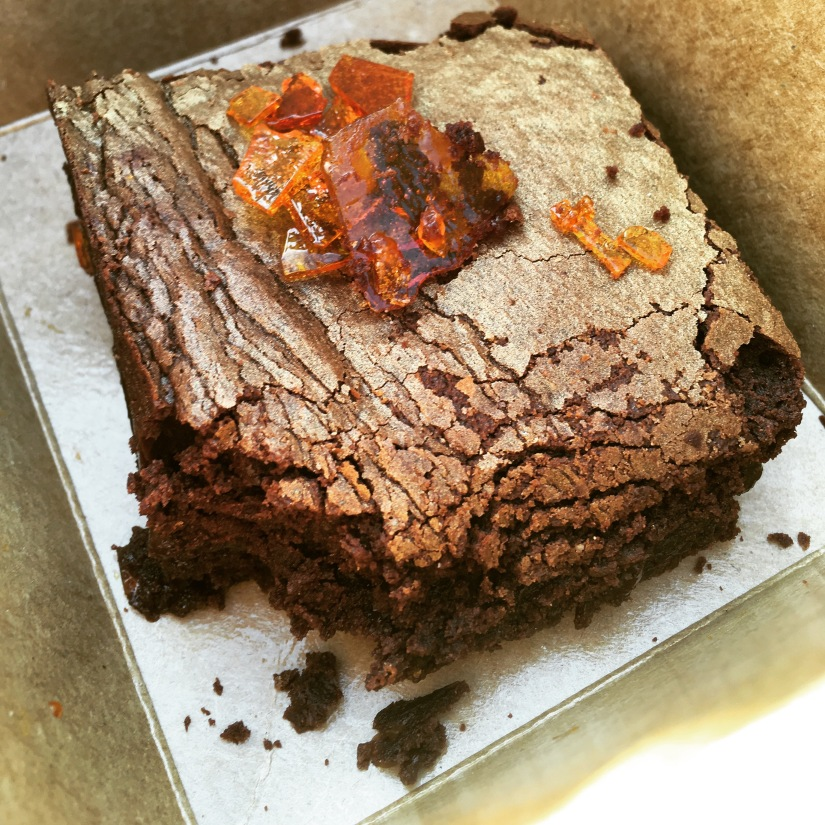 Dangerously delicious Salted Caramel brownie slice cc: Bad Brownie co.